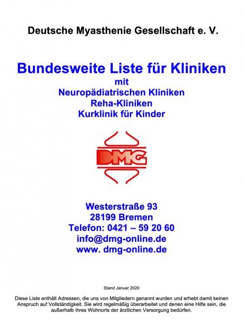Bundesweite Liste für Kliniken (MG)
